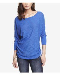 Express Blue Slub Knit Side Ruched Tunic Sweater