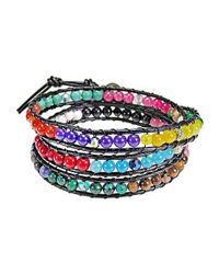 Aeravida - Multicolor Triple Wrap Stone And Leather Fusion Bracelet - Lyst