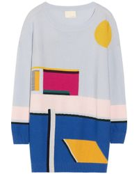 Band of Outsiders Blue Pool-intarsia Merino Wool Sweater