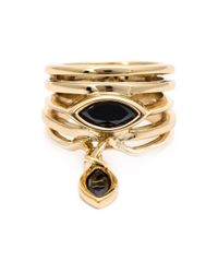 Eddie Borgo | Metallic Drop Onyx Layered Ring | Lyst