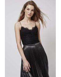 TOPSHOP - Black Lace Scallop Body - Lyst