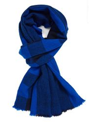 Marc By Marc Jacobs Blue Plaid Wool Scarf for men