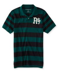 Aéropostale | Green A87 Rugby Stripe Logo Jersey Polo for Men | Lyst