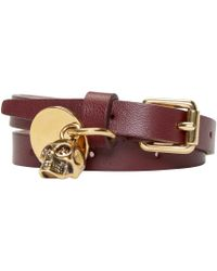 Alexander McQueen | Purple Burgundy Double-wrap Leather Bracelet | Lyst