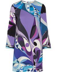 Emilio Pucci Purple Printed Stretch-Silk Mini Dress