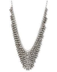 Steve Madden | Metallic Silver-Tone Shaky Faceted Bead Frontal Bib Necklace | Lyst