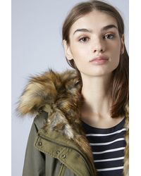 TOPSHOP Natural Faux Fur Trimmed Parka Jacket