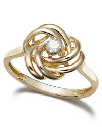 Wrapped in Love - Metallic 14k Gold Diamond Love Knot Ring (1/10 Ct. T.w.) - Lyst