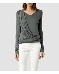 AllSaints Gray Dayne Sleeve Top