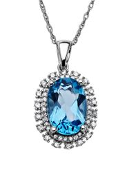 Lord & Taylor | Blue Topaz Necklace In 14 Kt. White Gold With Diamond Accents | Lyst