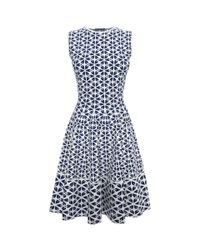 Alexander McQueen - Blue Cut Out Flower Jacquard Fit And Flare Dress - Lyst