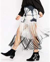 ASOS Multicolor Mini Skirt In Tie Dye With Ombre Fringe