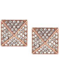 Vince Camuto | Pink Rose Gold-tone Crystal Pyramid Earrings | Lyst