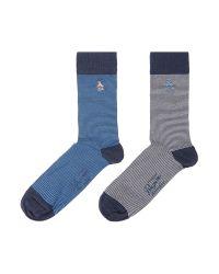 Original Penguin Blue 2 Pack Bamboo Feeded Ankle Socks for men