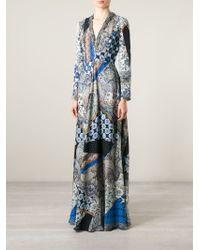 Etro - Blue Mixed Prints Long Dress - Lyst