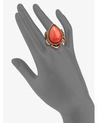 Oscar de la Renta - Metallic Cabochon Lace Ring - Lyst