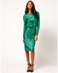 ASOS Collection   Green Asos Sequin Cowl Back Dress   Lyst