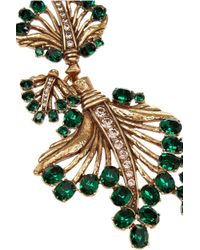 Oscar de la Renta - Metallic Gold-Plated Crystal Leaf Necklace - Lyst
