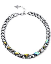 Guess | Multicolor Hematite-tone Rainbow Crystal Link Necklace | Lyst