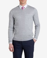 Ted Baker - Gray Merino Wool V-Neck Jumper for Men - Lyst