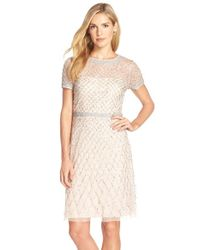 Adrianna Papell | Pink Beaded Sheath Dress | Lyst