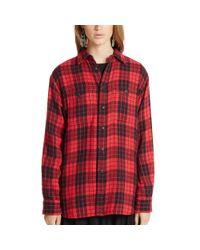 Polo Ralph Lauren - Red Plaid Cotton Boyfriend Shirt - Lyst