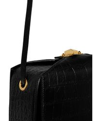 Alexander McQueen Black 'the Box Bag' In Croc Embossed Leather