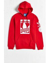 Adidas Red Originals Box Trefoil Hoodie Sweatshirt for men