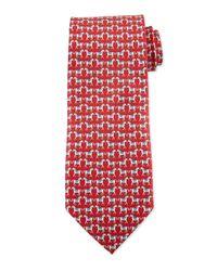 Ferragamo - Red Horse-print Silk Tie for Men - Lyst