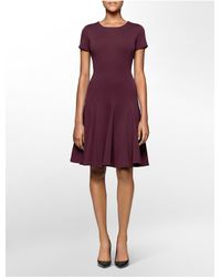 Calvin Klein | Purple White Label Ponte Knit Cap Sleeve Fit + Flare Dress | Lyst