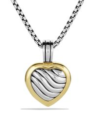 David Yurman - Metallic Sculpted Cable Heart Locket With Gold - Lyst
