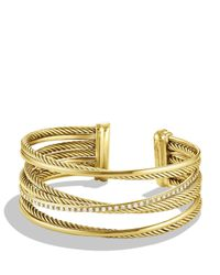 David Yurman Yellow Crossover Four-row Cuff Bracelet With Diamonds In 18k Gold, 23mm