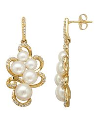 Lord & Taylor | Metallic 14Kt. Yellow Gold Fresh Water Pearl And Diamond Earrings | Lyst