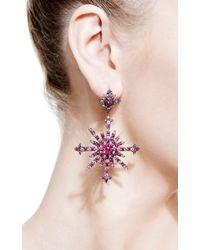 Bochic - Purple Ruby and Diamond Snowburst Earrings - Lyst
