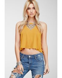 Forever 21 - Yellow Ladder Cutout Halter Tank - Lyst