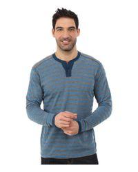 Agave | Blue Long Sleeve Henley Stripe for Men | Lyst