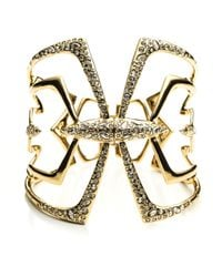 Alexis Bittar - Metallic Kinetic Crystal Encrusted Mirrored Hinged Bracelet - Gold - Lyst