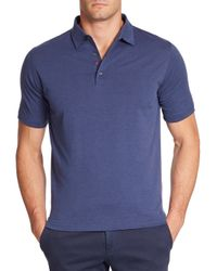 Isaia | Blue Cotton-silk Polo for Men | Lyst