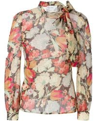 RED Valentino - Multicolor Floral Band Collar Blouse - Lyst