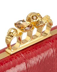 Alexander McQueen Red Knuckleduster Snakeskin Box Clutch Bag Ruby