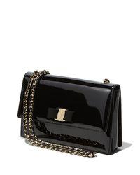 Ferragamo - Black Ginny Patent Leather Shoulder Bag - Lyst