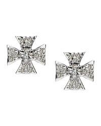 Elizabeth Showers | Blue Sapphire Pave Mini Maltese Stud Earrings | Lyst