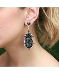 Inbar Carved Black Jade Earrings