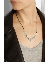 Dezso by Sara Beltran Black Baby Shark Tooth Woven Cotton And Silver Necklace