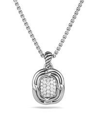 David Yurman Metallic Labyrinth Pendant With Diamonds On Chain