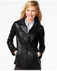 Anne Klein | Black Petite Leather Jacket | Lyst