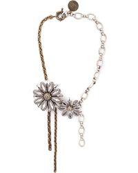 Lanvin | Gray Flower Choker Necklace | Lyst