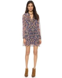 Twelfth Street Cynthia Vincent Blue Silk Mini Dress - Taj Paisley