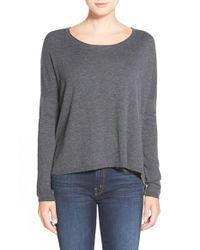Splendid Gray Scoop Neck High/low Sweater
