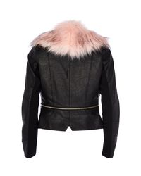 River Island Pink Leather Look Faux Fur Collar Jacket